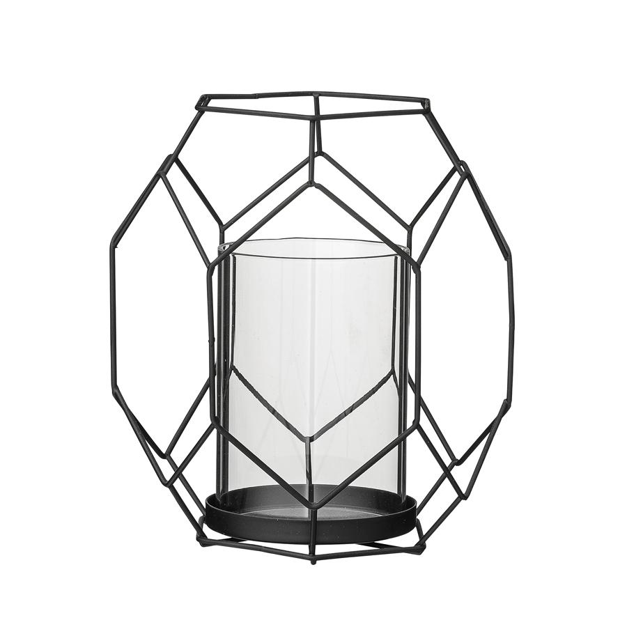 bloomingville windlicht gitter schwarz online kaufen emil paula. Black Bedroom Furniture Sets. Home Design Ideas