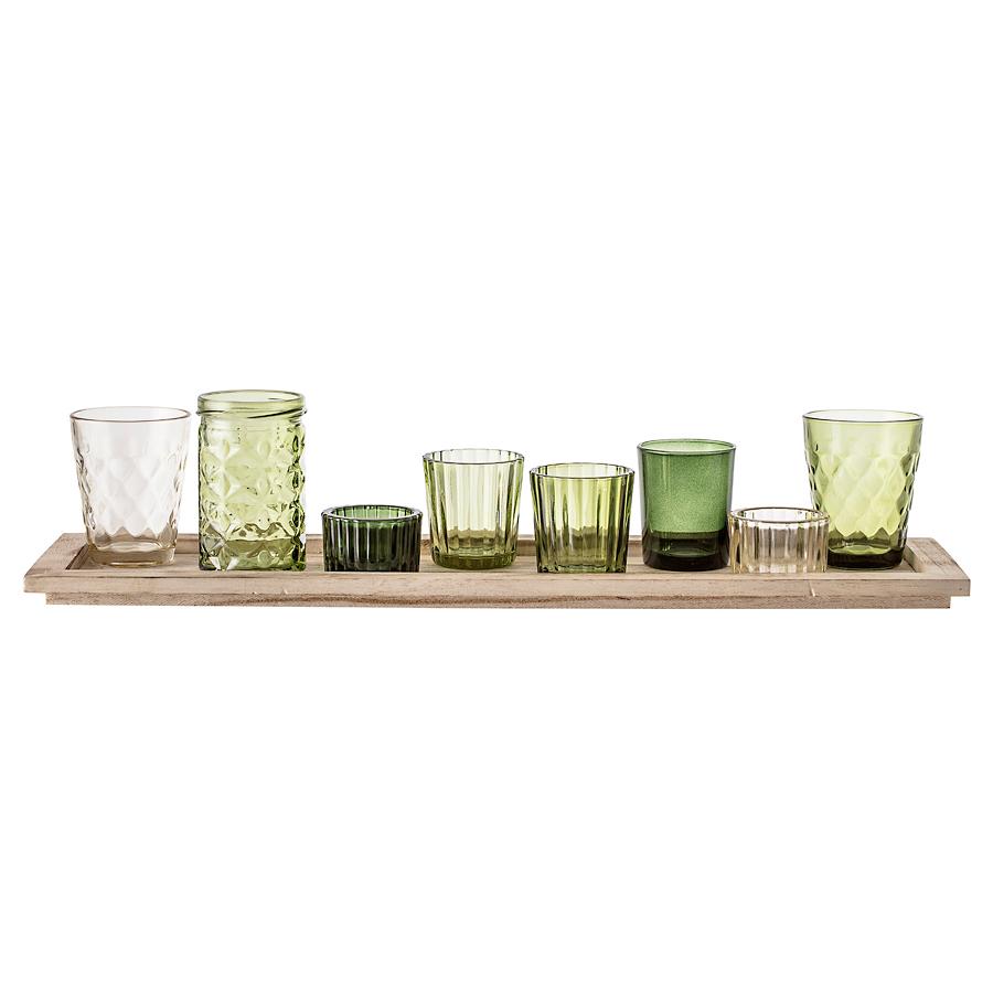 bloomingville windlicht gl ser mit tablett green 9er set online kaufen emil paula. Black Bedroom Furniture Sets. Home Design Ideas