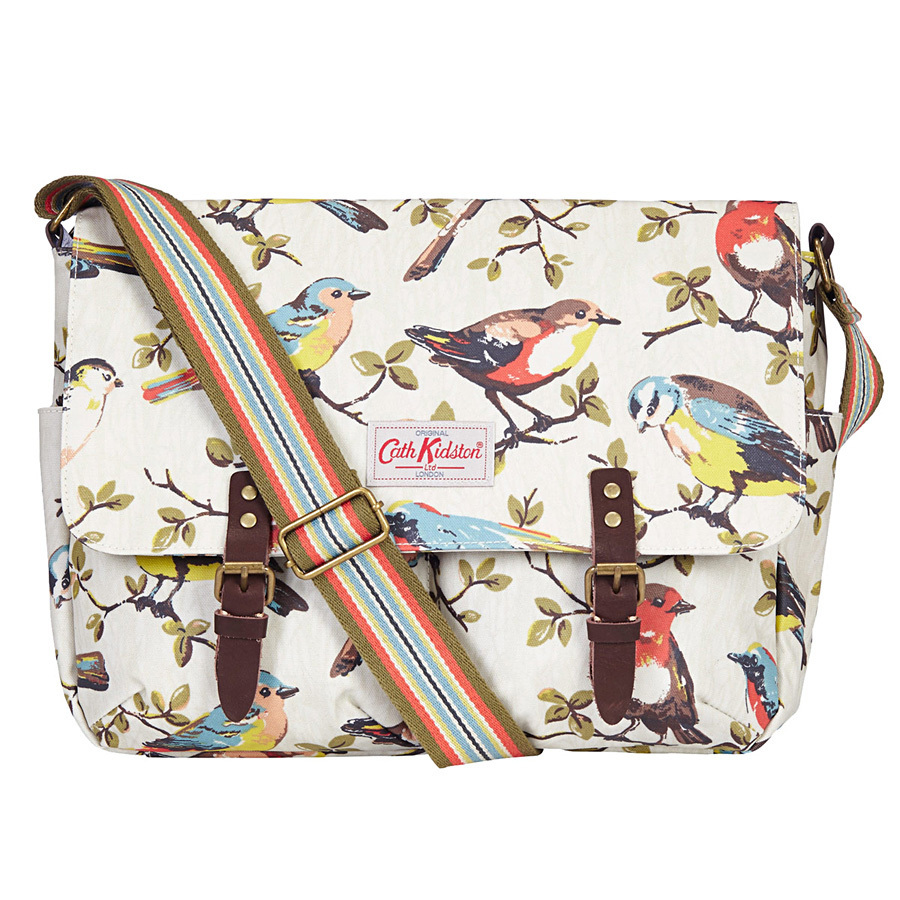 cath kidston umh ngetasche saddle bag mit lederverschl ssen garden birds stone online kaufen. Black Bedroom Furniture Sets. Home Design Ideas