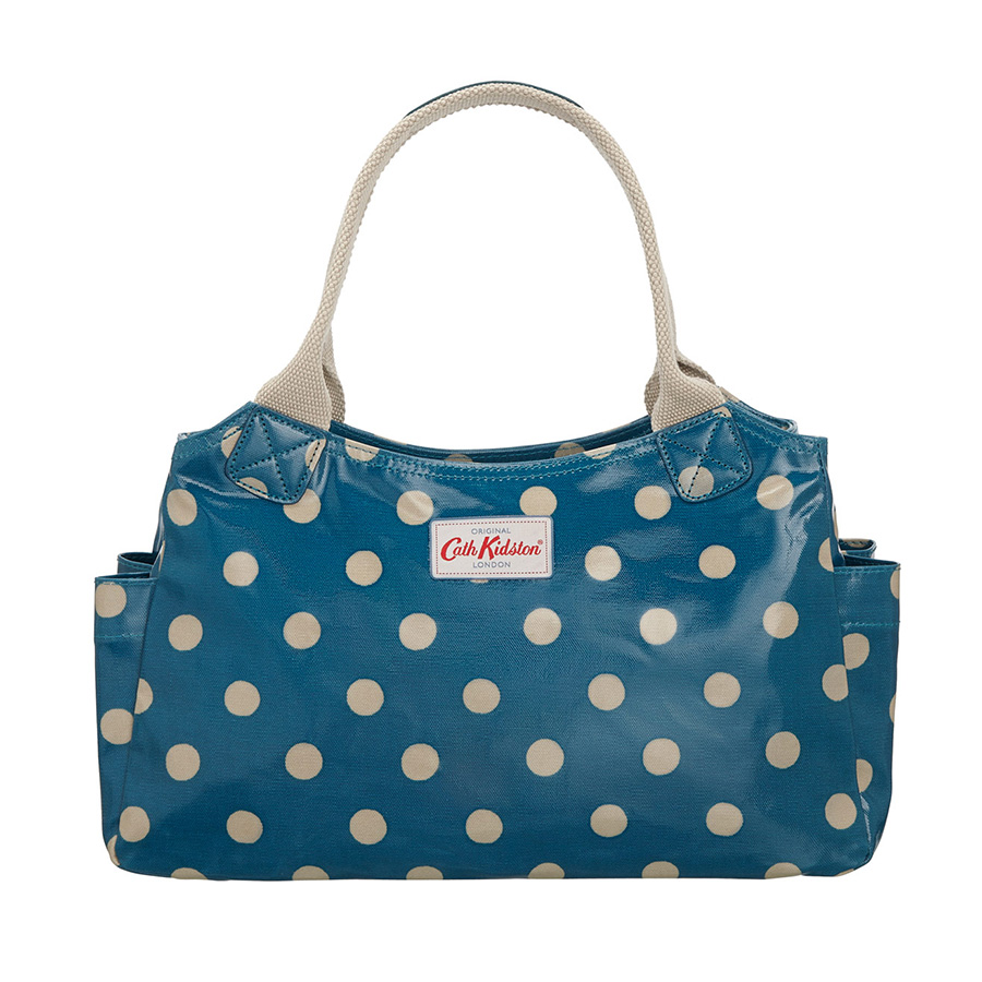 cath kidston neu handtasche day bag button spot deep blue online kaufen emil paula. Black Bedroom Furniture Sets. Home Design Ideas