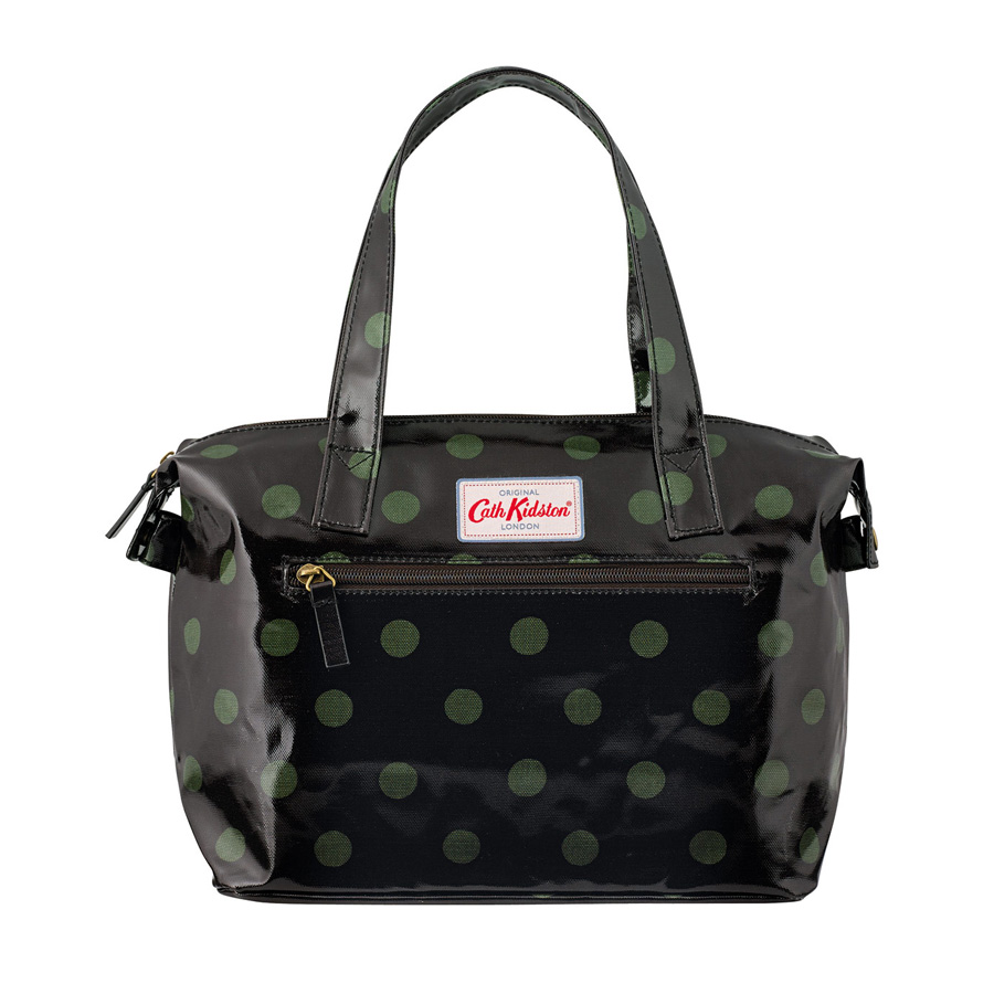 cath kidston kleine handtasche button spot charcoal olive online kaufen emil paula. Black Bedroom Furniture Sets. Home Design Ideas