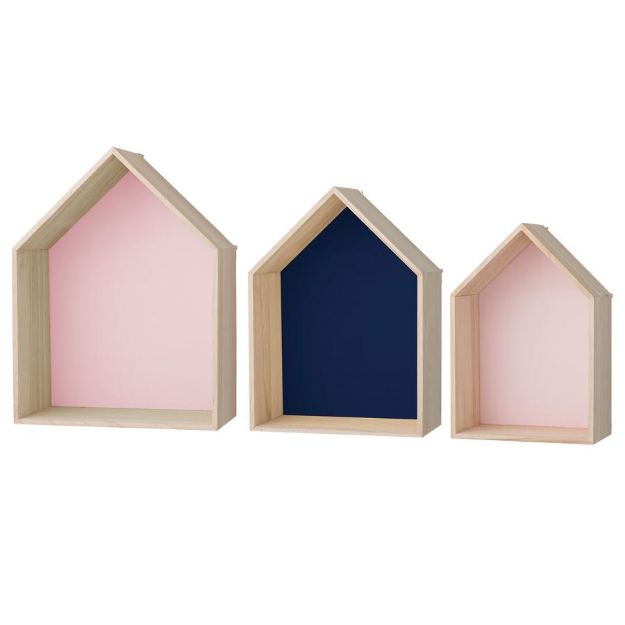 bloomingville deko regal houses rose navy rose 3er set. Black Bedroom Furniture Sets. Home Design Ideas