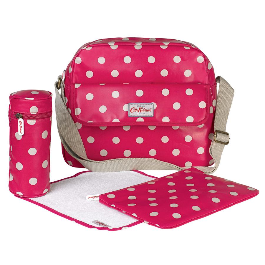 cath kidston tasche mit rei verschluss button spot raspberry online kaufen emil paula. Black Bedroom Furniture Sets. Home Design Ideas