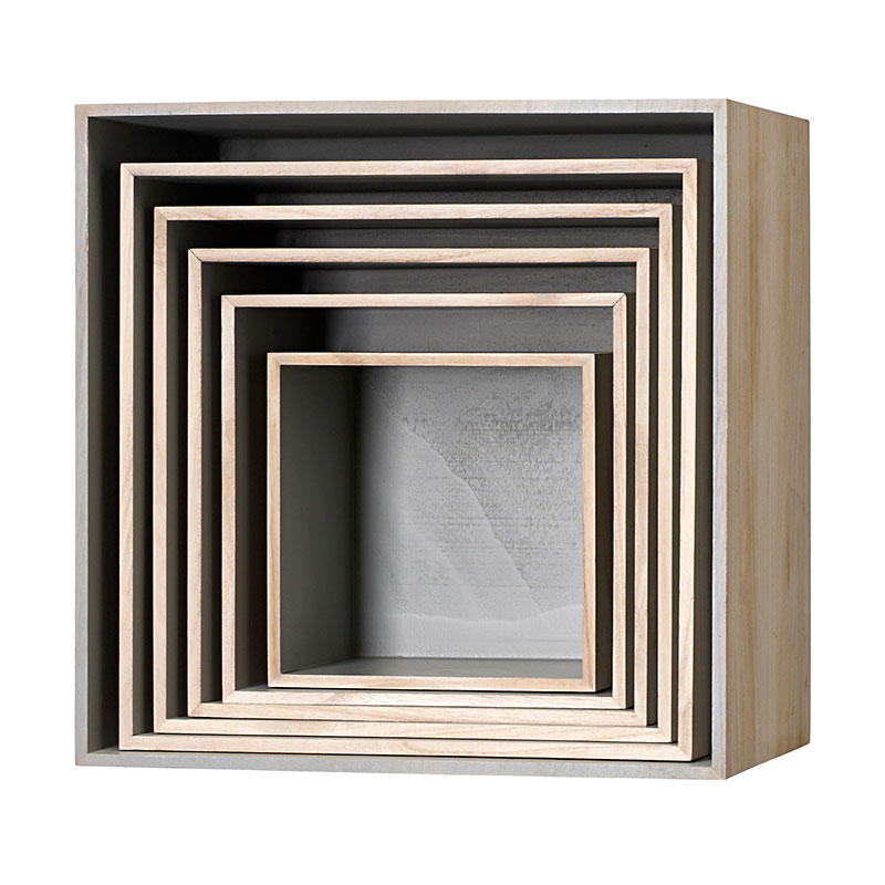 bloomingville aufbewahrungskisten holz grau online. Black Bedroom Furniture Sets. Home Design Ideas