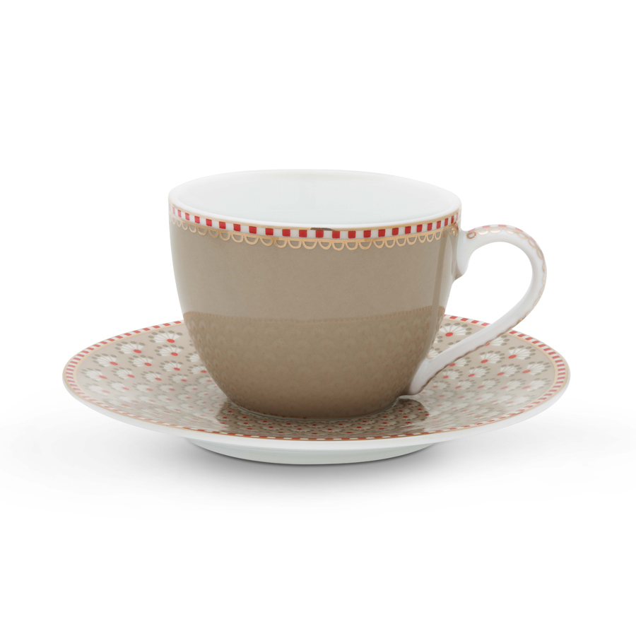 pip studio espressotasse mit unterteller bloomingtales khaki online kaufen emil paula. Black Bedroom Furniture Sets. Home Design Ideas