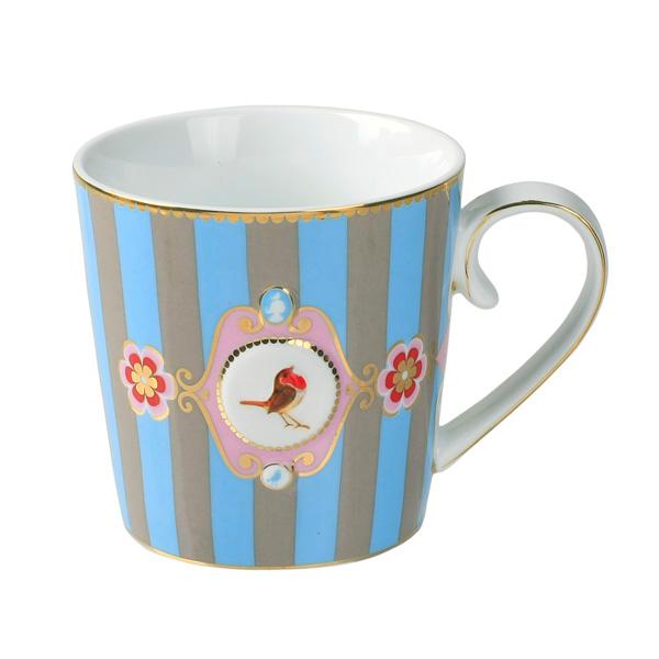pip studio mug love birds blue khaki stripes acheter en ligne emil paula. Black Bedroom Furniture Sets. Home Design Ideas