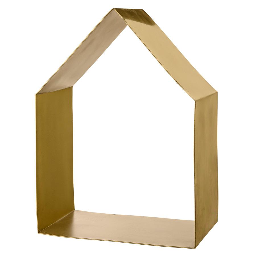 bloomingville deko regal haus brushed gold online kaufen emil paula. Black Bedroom Furniture Sets. Home Design Ideas