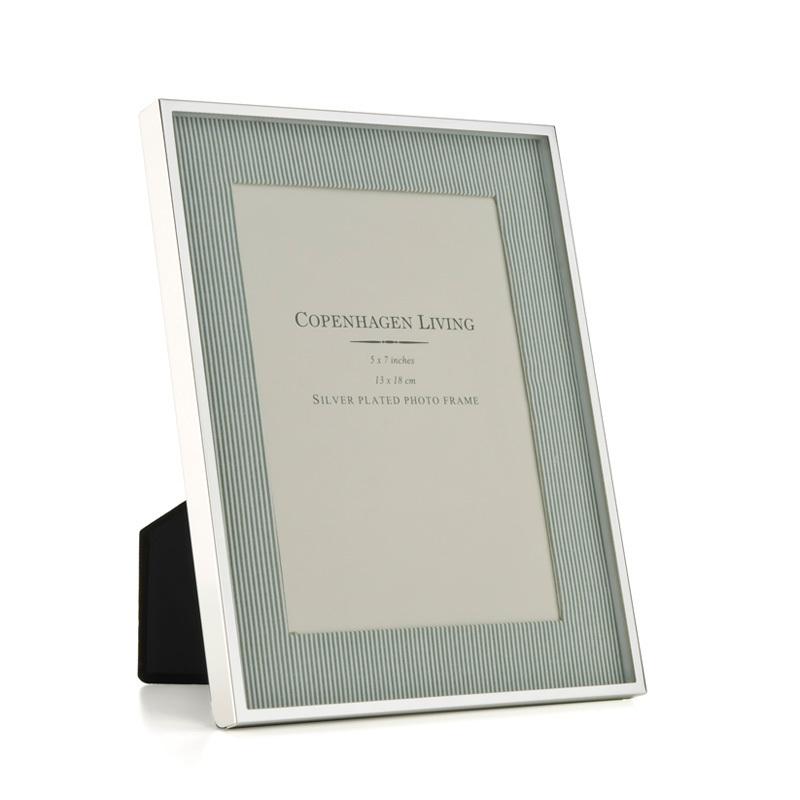 Klassischer Bilderrahmen versilbert/grün-weißer Stoff 23,5x18 cm ...