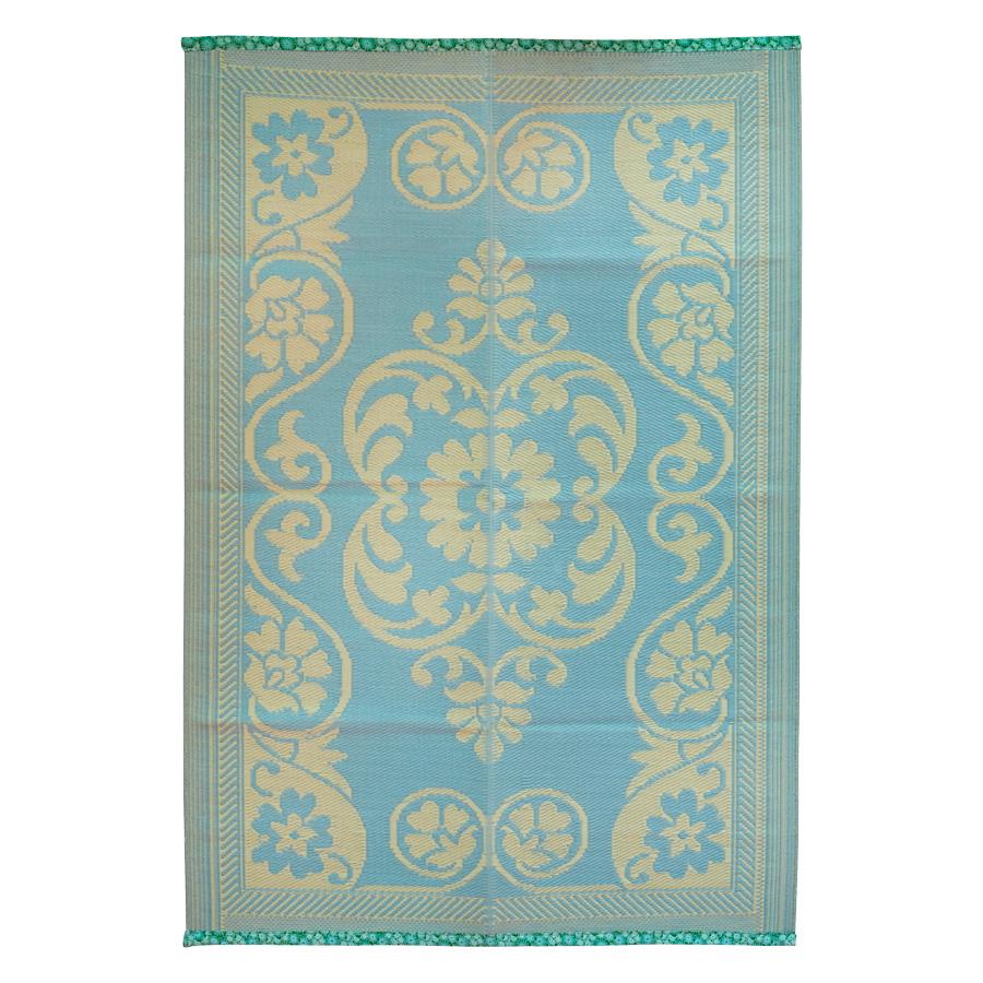 Rice Teppich PastellblauOffWhite Floral Swirls online