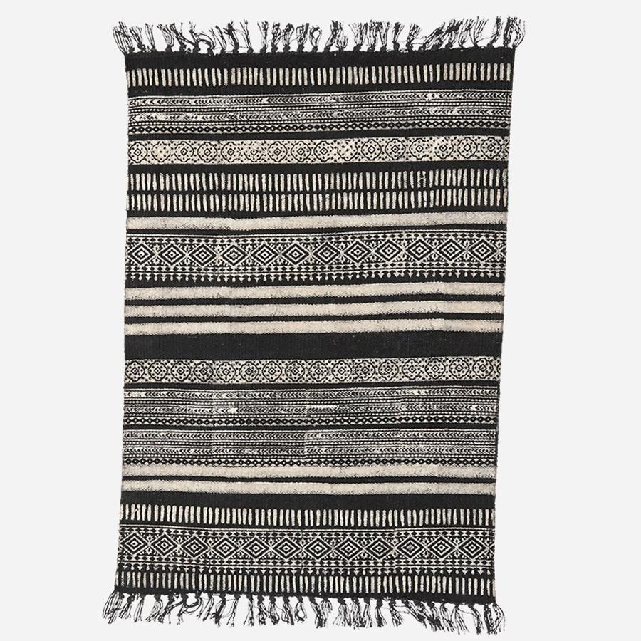 house doctor teppich stack schwarz natur 90x200 online kaufen emil paula. Black Bedroom Furniture Sets. Home Design Ideas