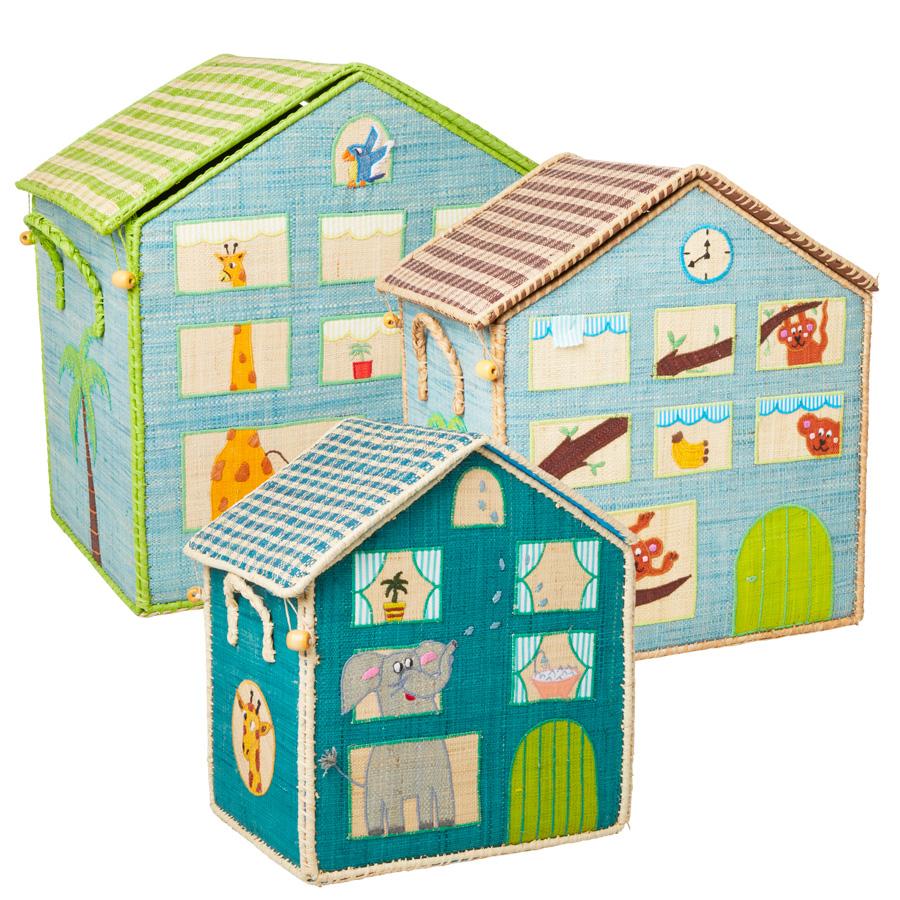 Rice Spielzeugkorb Jungle House Blau online kaufen
