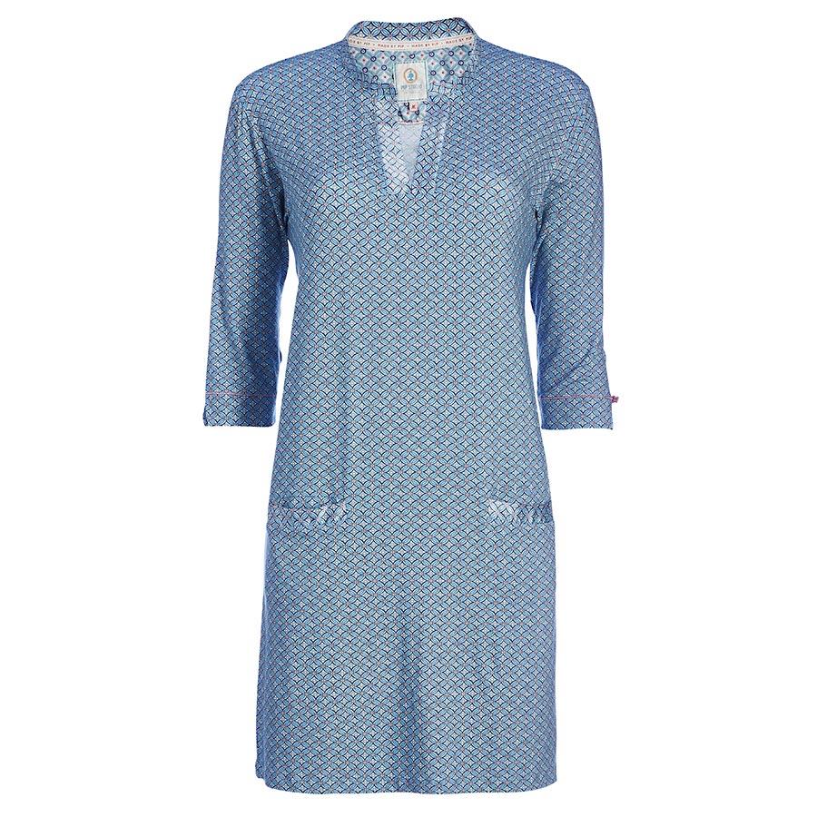 pip studio nachthemd 3 4 rmel deir piptiles geometric blue online kaufen emil paula. Black Bedroom Furniture Sets. Home Design Ideas