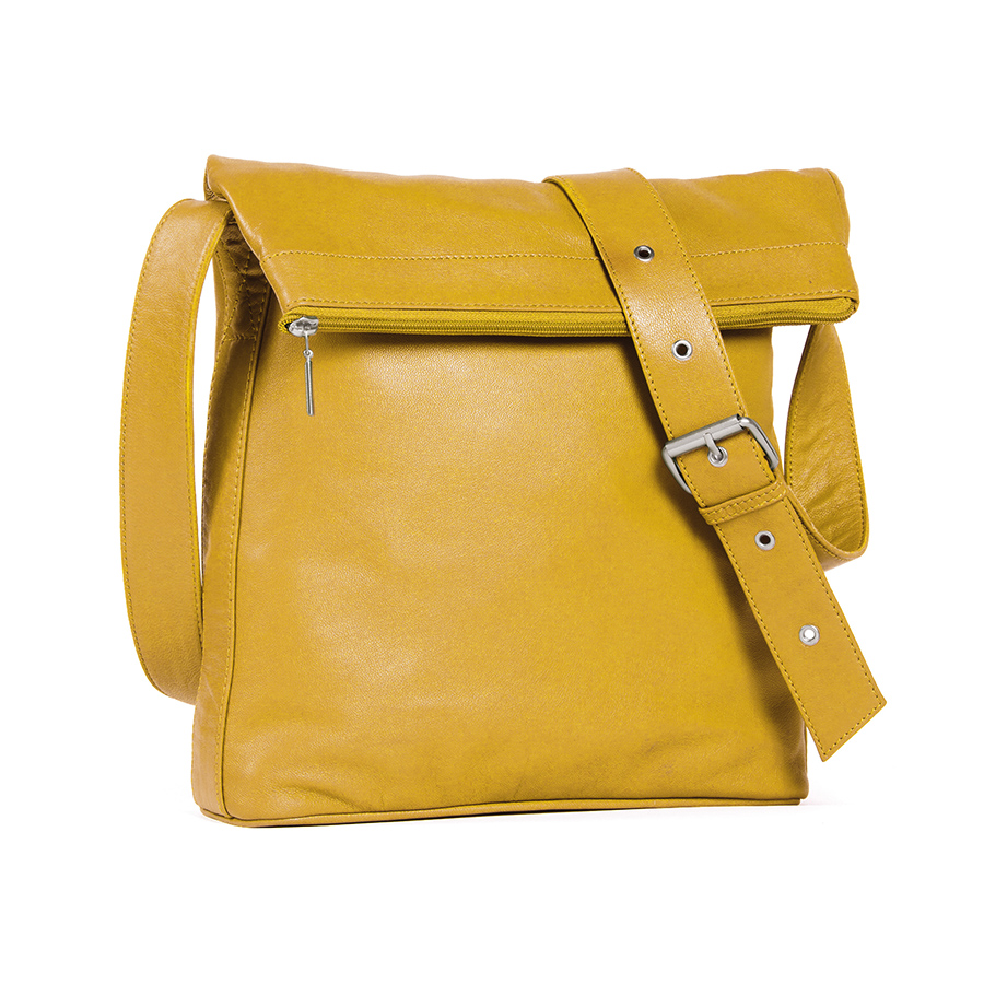 sticks and stones ledertasche flap bag yellow online. Black Bedroom Furniture Sets. Home Design Ideas