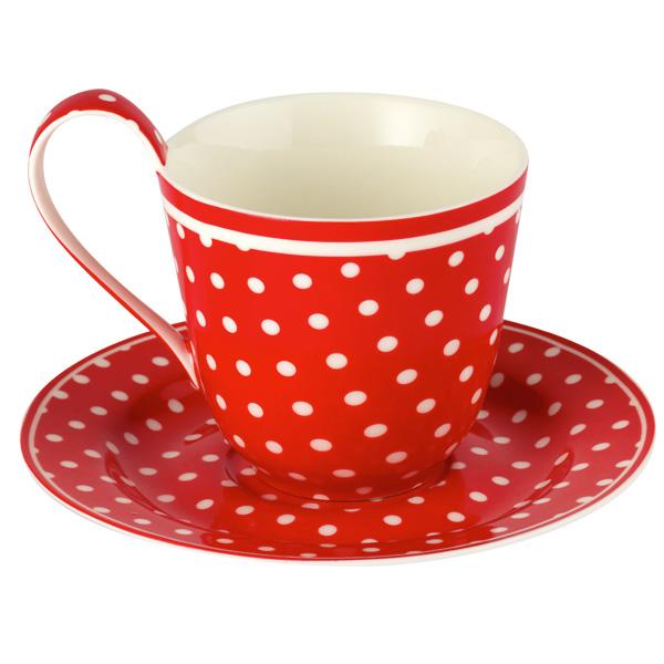 greengate porzellan tasse mit untertasse spot red online. Black Bedroom Furniture Sets. Home Design Ideas