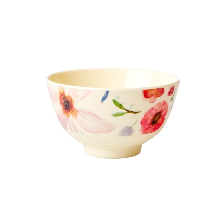 Rice Melamin Teller Oval Flower Fan Blumen Muster