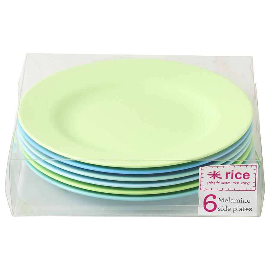 rice melamin teller blue green 6er set online kaufen. Black Bedroom Furniture Sets. Home Design Ideas