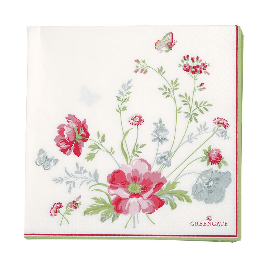 greengate papier serviette gro meadow white 20 stk. Black Bedroom Furniture Sets. Home Design Ideas