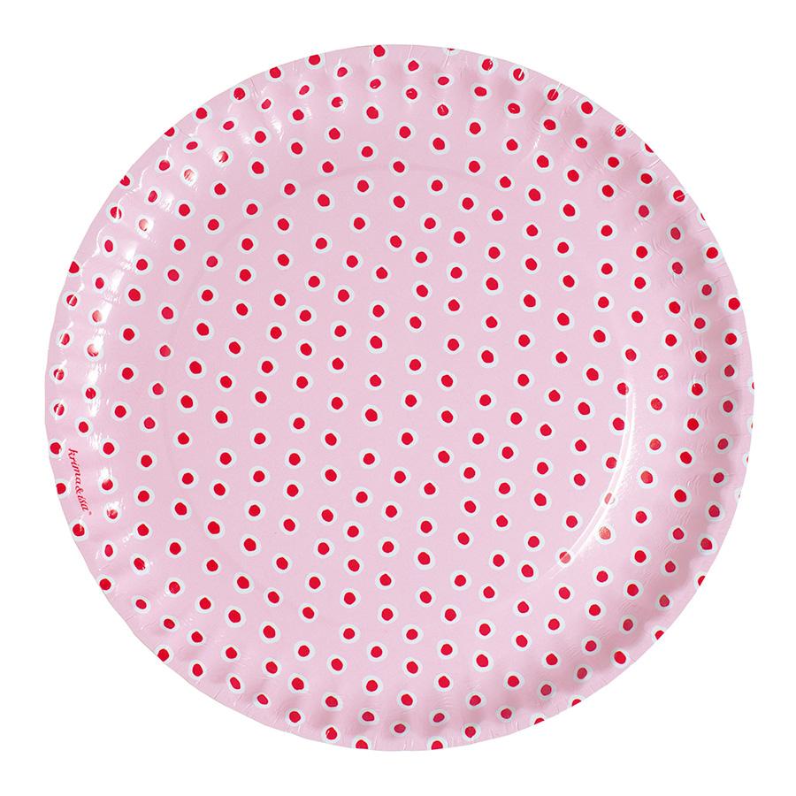 Krima isa pappteller tupfer rosa 8er set online kaufen for Rosa pappteller