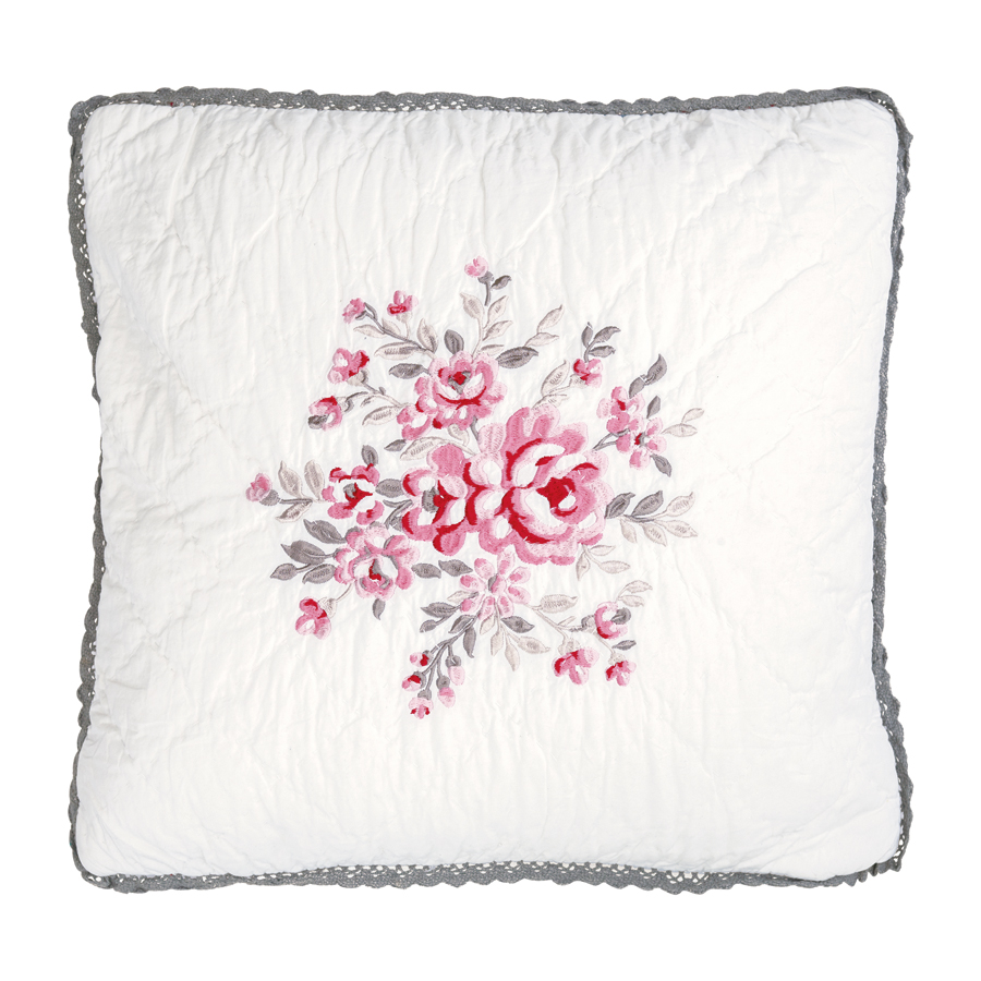 greengate kissenh lle flora white bestickt 40x40 online kaufen emil paula. Black Bedroom Furniture Sets. Home Design Ideas
