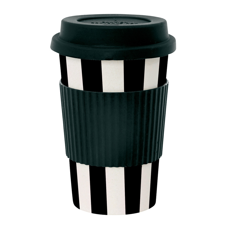 miss toile melamin travel mug stripes schwarz online. Black Bedroom Furniture Sets. Home Design Ideas