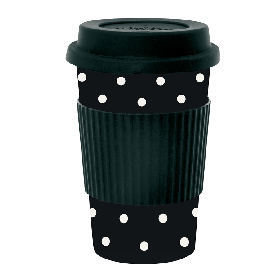 miss toile melamin travel mug dots wei auf schwarz. Black Bedroom Furniture Sets. Home Design Ideas