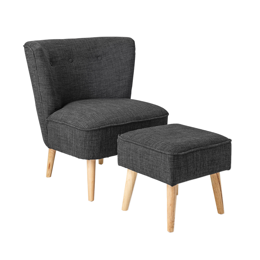 bloomingville sessel und hocker dark grey upholstery online kaufen emil paula. Black Bedroom Furniture Sets. Home Design Ideas