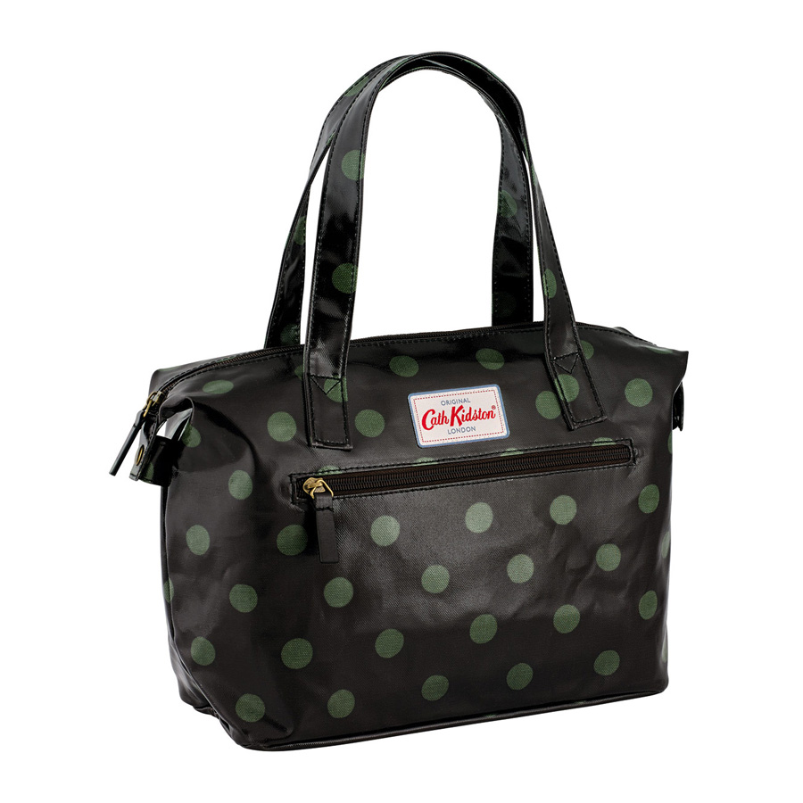 cath kidston kleine handtasche button spot charcoal olive online kaufen emil paula. Black Bedroom Furniture Sets. Home Design Ideas