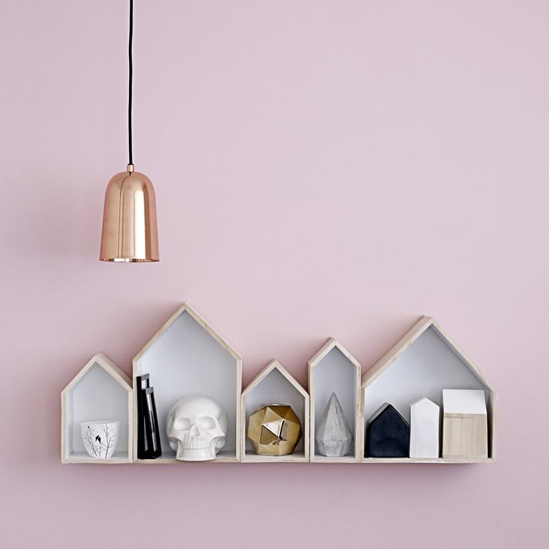 bloomingville wandregal holzhaus natur wei online kaufen. Black Bedroom Furniture Sets. Home Design Ideas