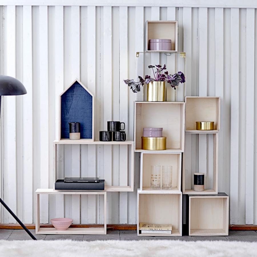 bloomingville deko regal houses rose navy rose 3er set online kaufen emil paula. Black Bedroom Furniture Sets. Home Design Ideas