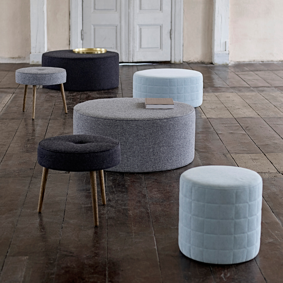 bloomingville runder sitzpouf light grey wool online. Black Bedroom Furniture Sets. Home Design Ideas