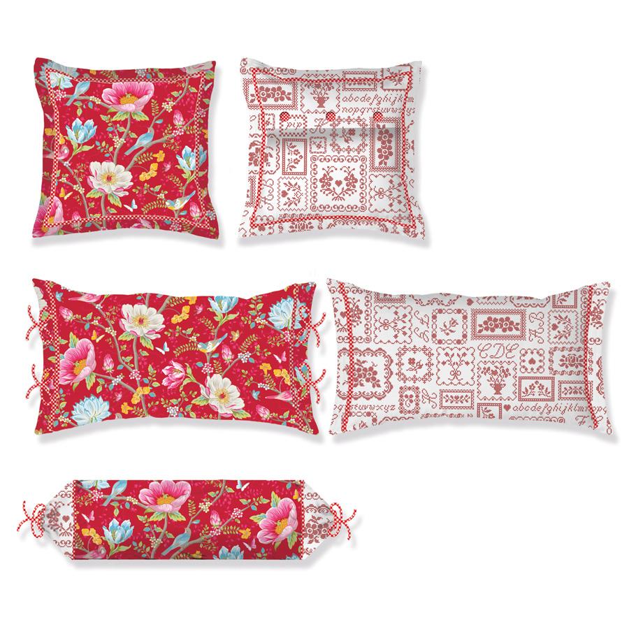 Pip studio zierkissen chinese garden red flanell online for Katzennetz balkon mit chinese garden pip studio