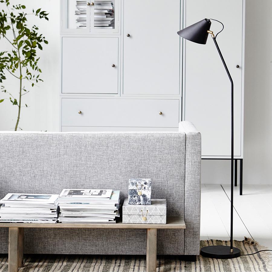 house doctor bodenlampe club schwarz wei online kaufen emil paula. Black Bedroom Furniture Sets. Home Design Ideas