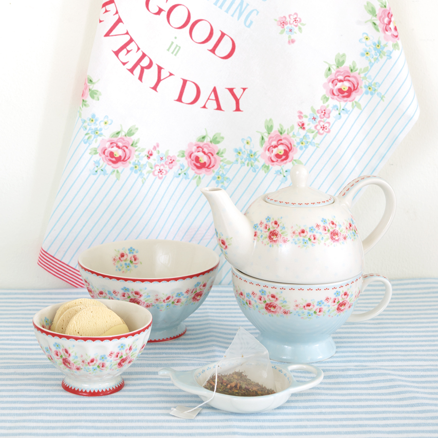 greengate teetasse mit kanne tea for one tess white. Black Bedroom Furniture Sets. Home Design Ideas