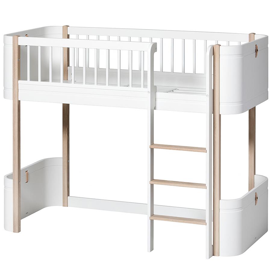 oliver furniture halbhohes hochbett wood mini wei eiche. Black Bedroom Furniture Sets. Home Design Ideas
