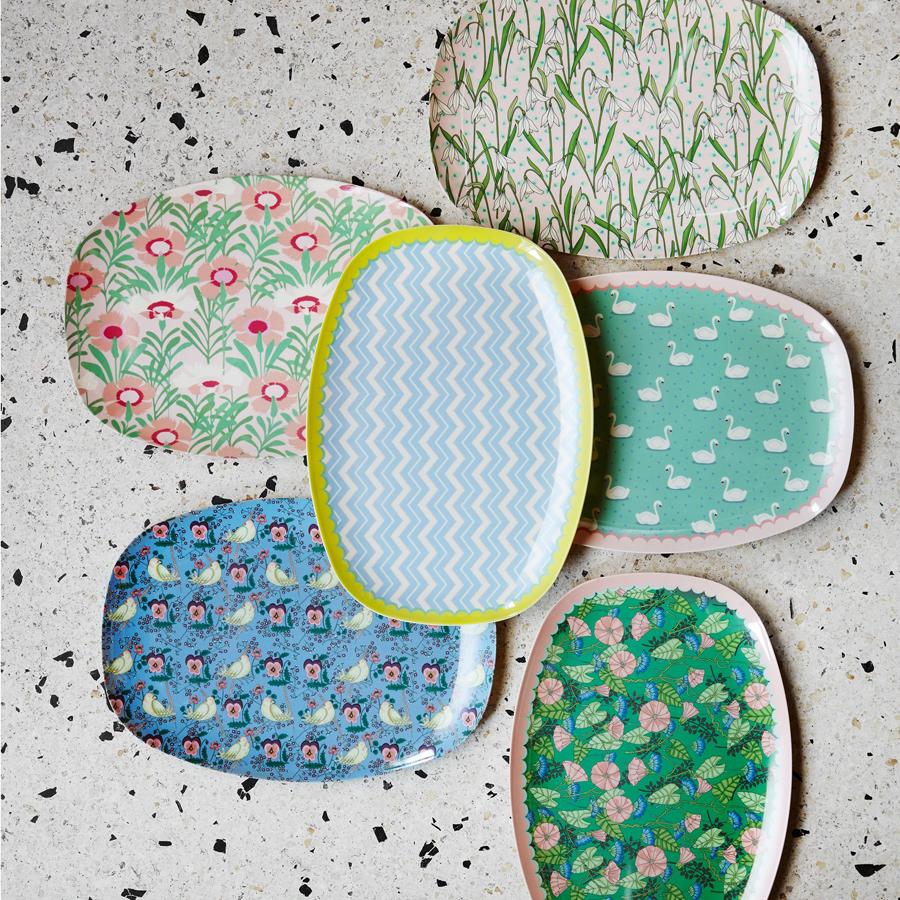 rice melamin teller oval bird pansy online kaufen emil. Black Bedroom Furniture Sets. Home Design Ideas