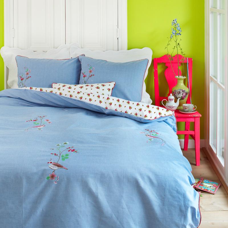pip studio bettw sche embroidery bird denim gestickt online kaufen emil paula. Black Bedroom Furniture Sets. Home Design Ideas