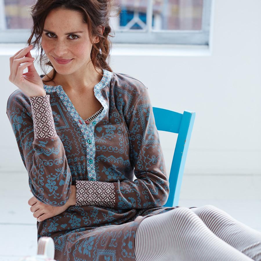 pip studio nachthemd langarm ditta cross stitch blue online kaufen emil paula. Black Bedroom Furniture Sets. Home Design Ideas