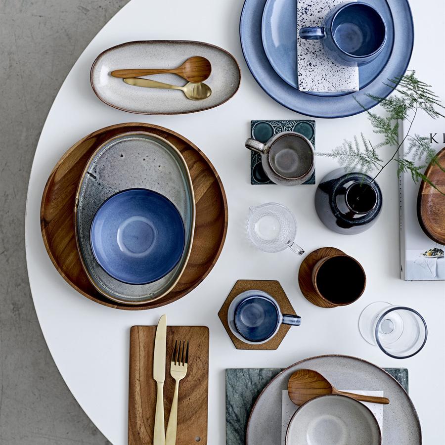 bloomingville porzellan teller sandrine blue 22cm online. Black Bedroom Furniture Sets. Home Design Ideas