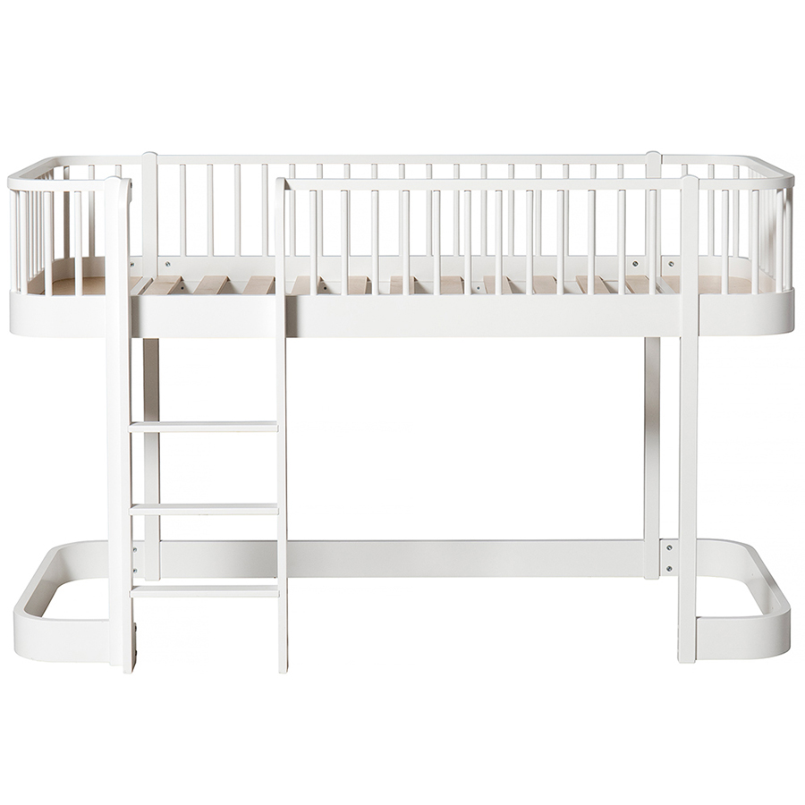 oliver furniture halbhohes hochbett wood wei leiter. Black Bedroom Furniture Sets. Home Design Ideas