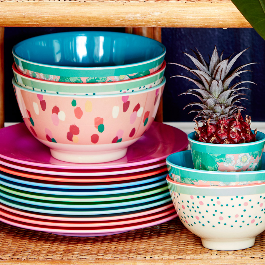 rice melamin teller pastel neon coral online kaufen emil paula. Black Bedroom Furniture Sets. Home Design Ideas